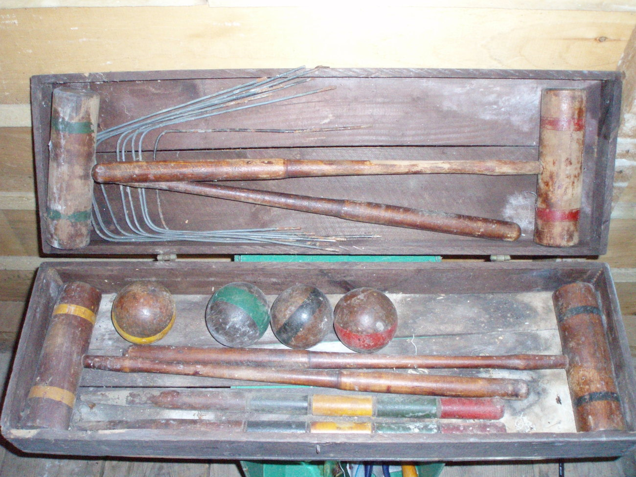 Antique wood croquet set original box lawn game