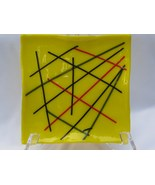 Slumped Glass Dish or Plate, Yellow with String... - $30.00