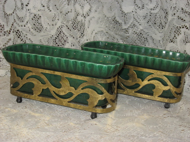 Miramar of California- Planters with Brass Stands--Set of 2-1950's