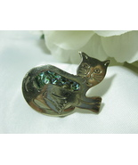 Alpaca Mexico Silver Abalone Cat Pin - $12.99