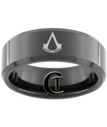 8mm Black Tungsten Carbide Band Beveled Assassi... - $49.00