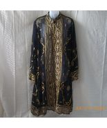 Sheer black coat jacket with embroidery and seq... - $75.00