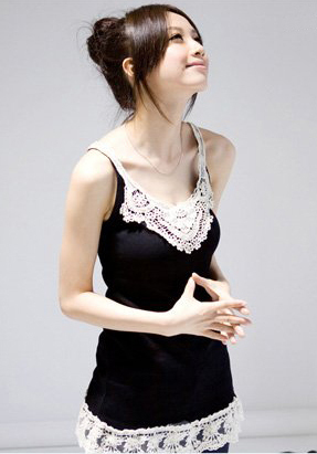 Black Thread Cotton Lace Trim Tunic T-Shirt