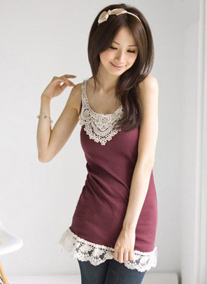 Burgundy Thread Cotton Lace Trim Tunic T-Shirt