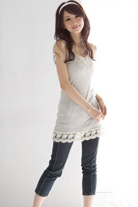 Gray Thread Cotton Lace Trim Tunic T-Shirt