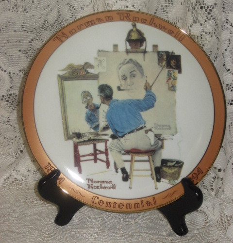 Norman Rockwell Triple Self Portrait Collector Plate-1994