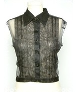 SOLD ~~ CHANEL Black Pleated Tulle Blouse - £178.60 GBP
