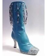 Groovy Baby Blue Silver Heel Dangling Beads Rhi... - $39.99