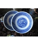 ANTIQUE BLUE WILLOW DESSER PLATES SET OF TWO - $15.00