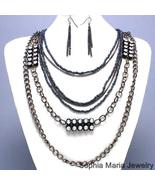 BLACK METAL CHAIN CRYSTAL NECKLACE SET COSTUME ... - $17.81