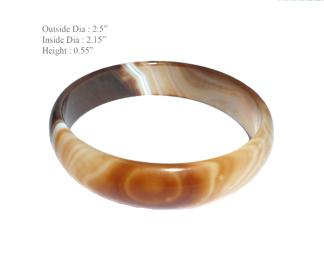 Brown Jade Agate Hurricane Bangle Bracelet