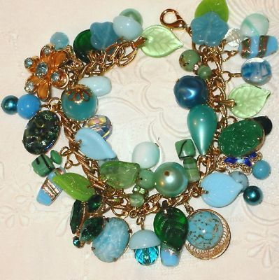 Loaded Vintage Chunky Charm Bracelet Caribbean Cool Colors Blue Green Aqua Beads