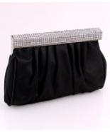 F7147-BLK Black Evening Bag with Rhinestone Trim - $25.00