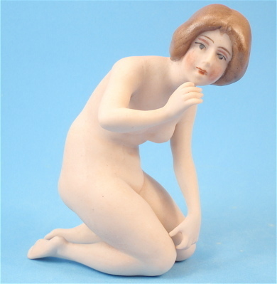 NEW LOWER PRICE! Unusual German Bisque Kneeling Nude Bathing Beauty
