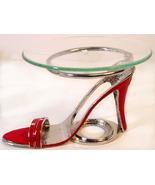 Red  Sandal Pewter High Heel Shoe Tea Light    - $21.50