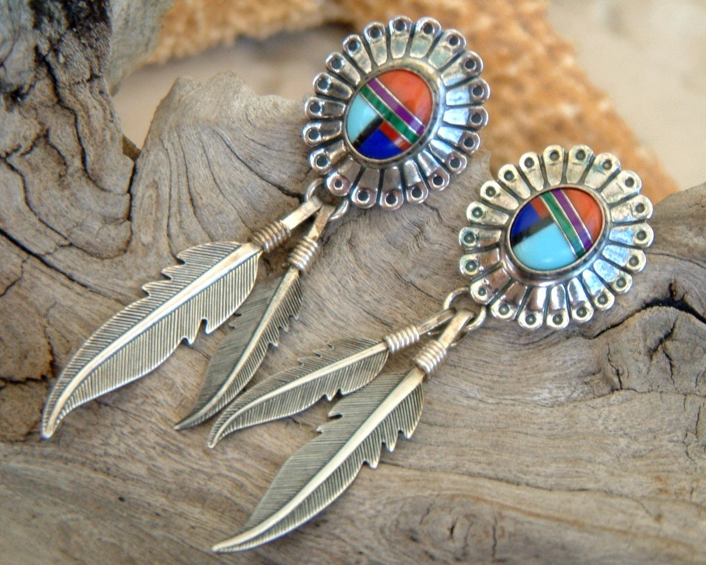 Sterling_silver_earrings_feathers_inlaid_stones_southwestern