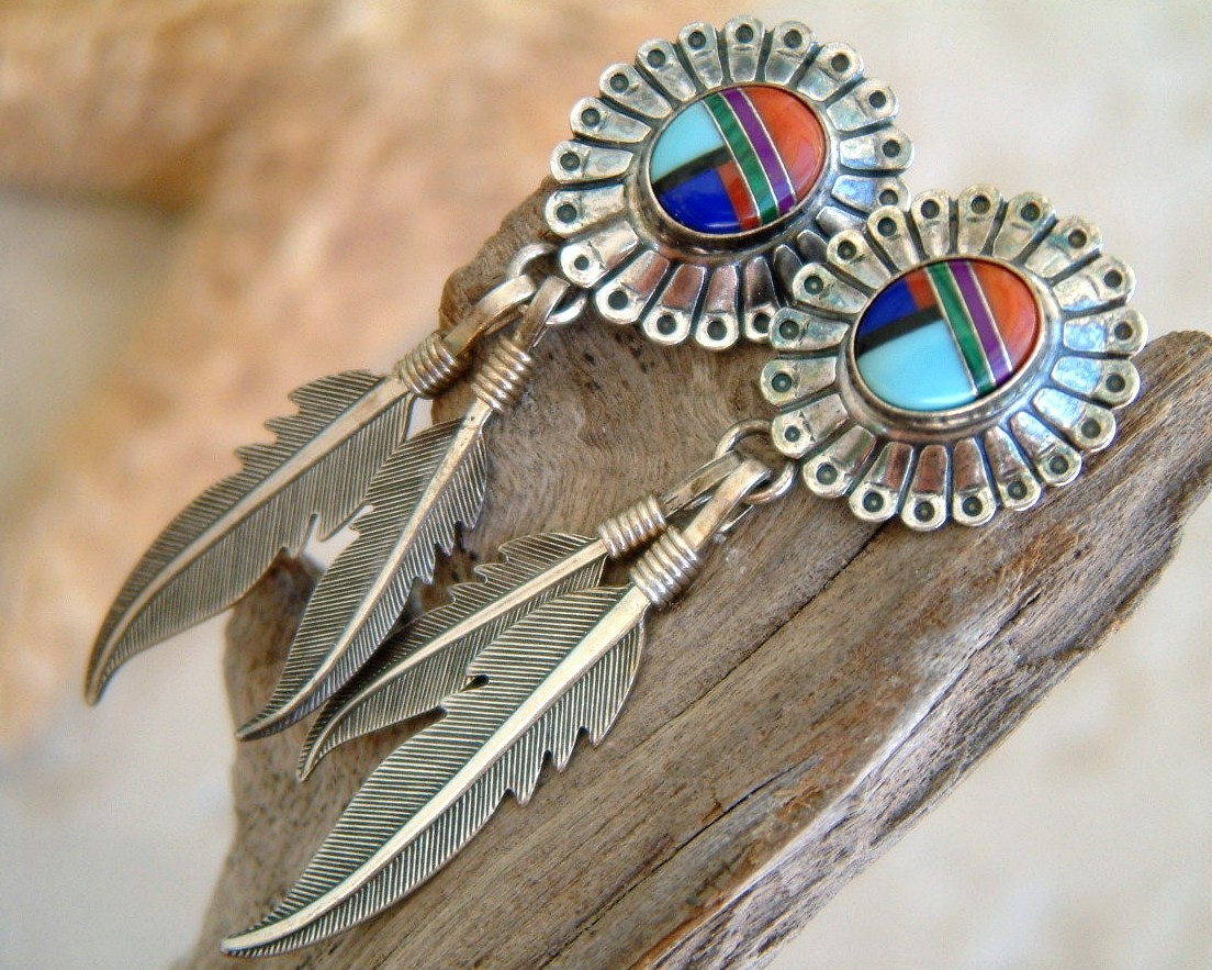 Feather_inlay_earrings_sterling_silver_southwestern_pierced