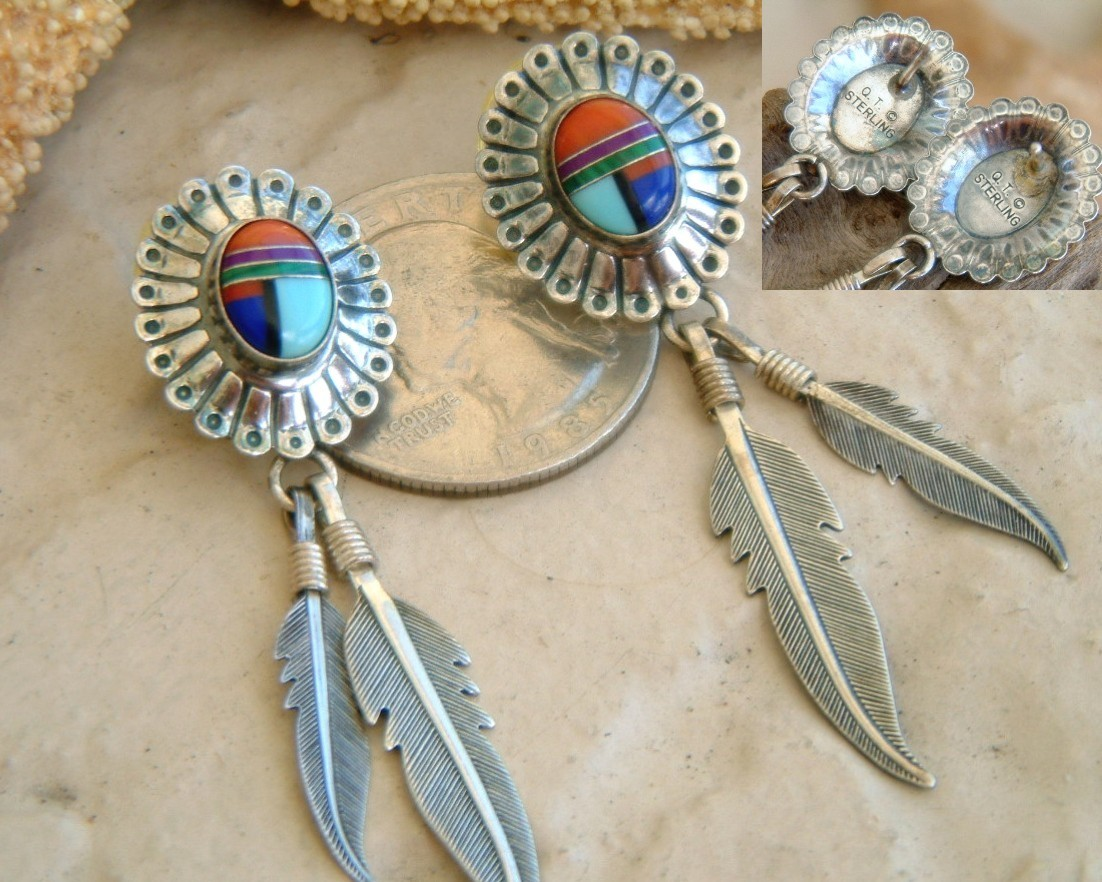 Southwestern_qt_earrings_sterling_turquoise_inlay_stone