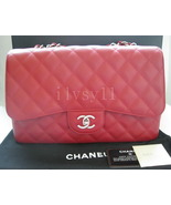 Chanel RED LIPSTICK CAVIAR Jumbo Flap 2010 Cruise 10C Silver 