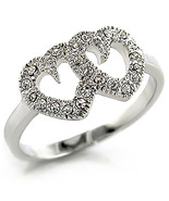 Double Heart Swarovski Crystals Sterling Silver... - $29.99
