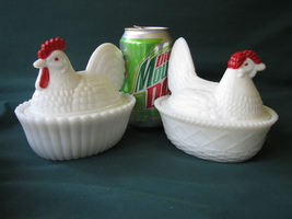 Westmoreland Glass Chicken Covered Dishes: 5 1/... - $15.00