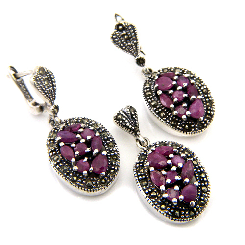22+g Natural Red Ruby Gemstone Marcasite Genuine 925 Silver Earring Pendant Set