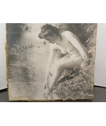 Vintage Photograph Nude By A River Black White  - $10.00