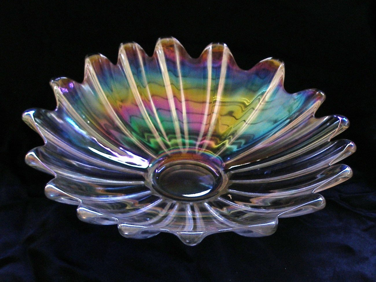 "Vintage Clear Iridescent Carnival Glass Dish 11"" Bowl"