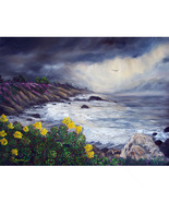 Original Oil Painting Stormy Monterey Carmel Se... - $699.00