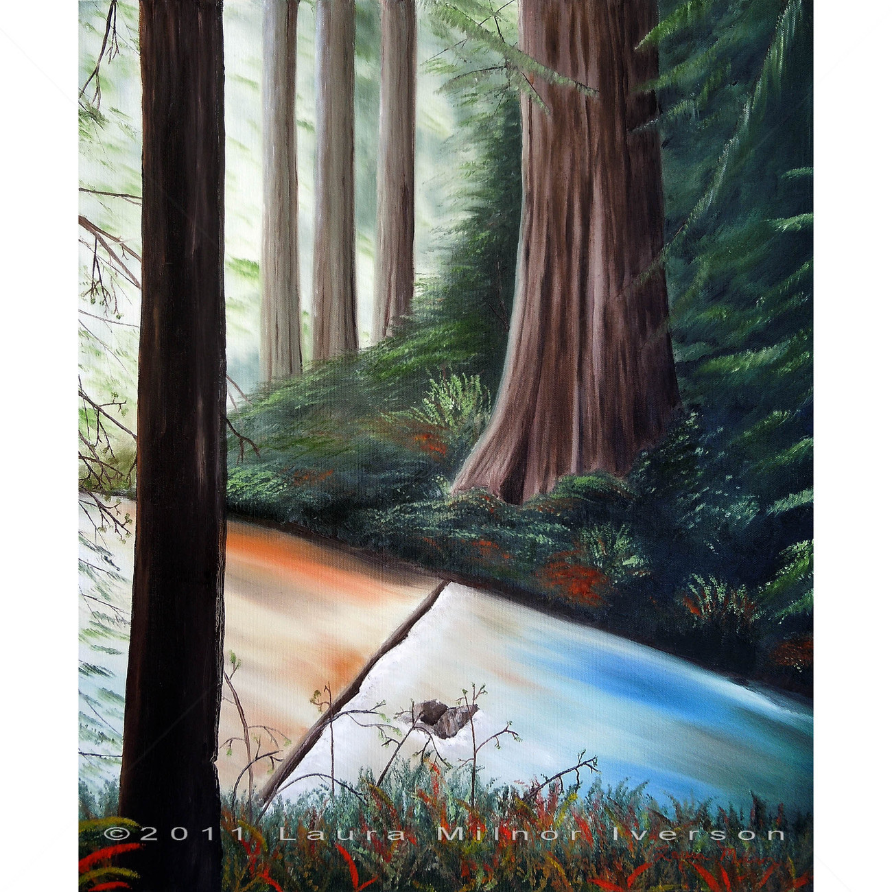 Original Oil Painting California Redwood Trees Stream Impressionist Landscape