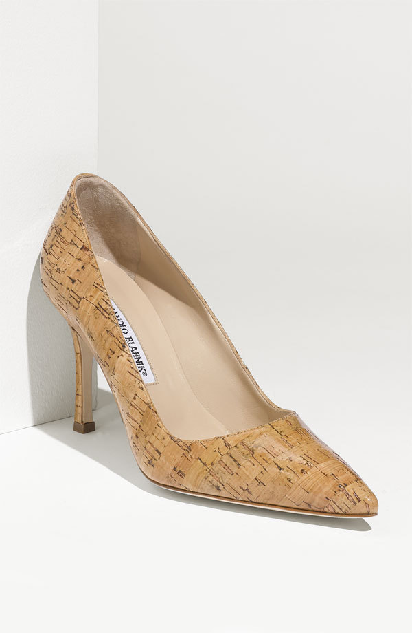 2012 MANOLO BLAHNIK BB GLAZED CORK CLASSIC PUMPS SHOES EU 38 7 39 8 90 mm