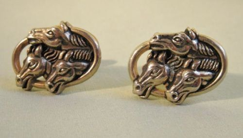 VINTAGE 3 HORSE Cufflinks Enameled Goldtone MULTI Dimensional Swivel Style NICE