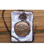 Pocket Watch Mens Western Stagecoach on Lid Cowboy Country Ranch - $24.00
