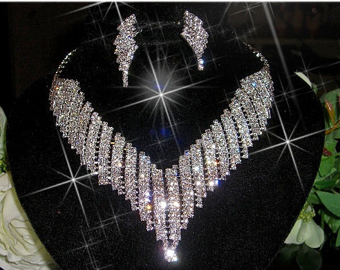 Wedding Bridal Prom Crystal Necklace Earring Set