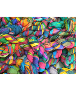 5 Skein Silk Ribbons Multicolored Recycled craf... - $24.70