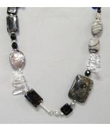 Black Gemstone Beaded Chunky Onyx Obsidian Pend... - $110.00