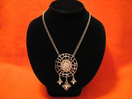 Vintage Lisner Silver Tone Shield Medallion Bib... - $42.00