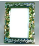 Green Potpourri Leaf Fused Glass Picture Frame ... - $47.00