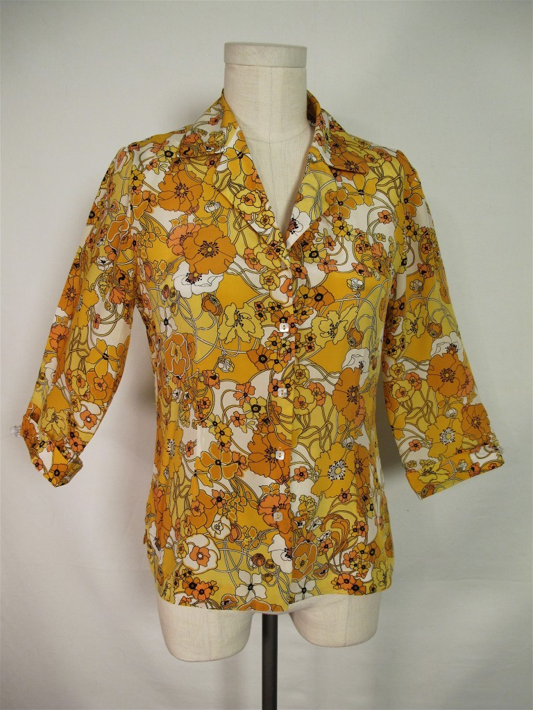 SILK BLOUSE VTG-LOOK FALL AUTUMN POPPY FLORAL PRINT S