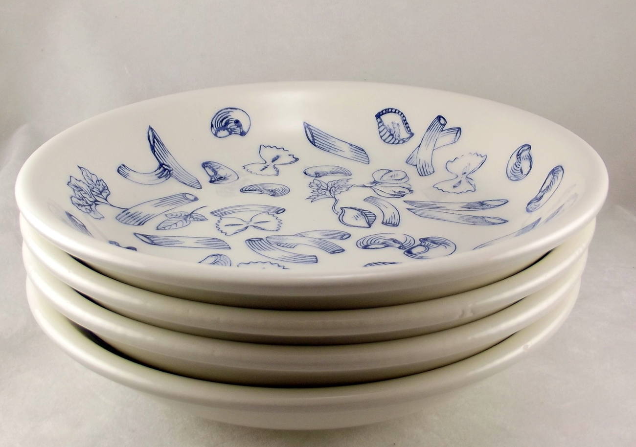 Tre Ci For Himark 8 25 Inch Pasta Bowls Made In Italy Blue