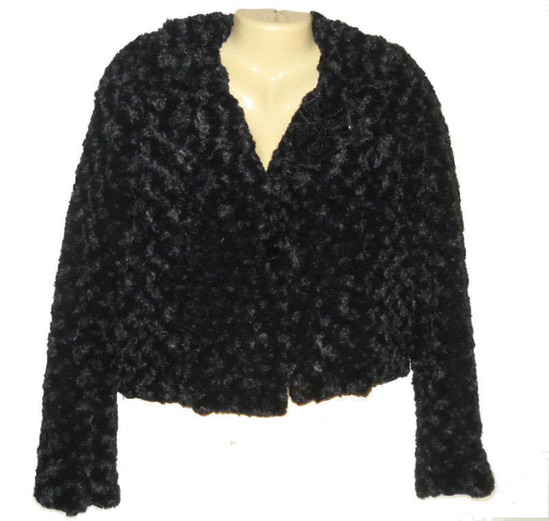 Womens Cropped Jacket Blazer Black Faux Fur Beaded Candies Size XS New