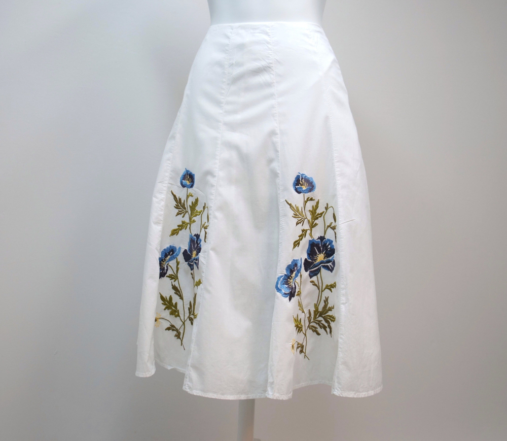 S.L.B. Skirt White Cotton Flare Blue Flower Embroidered Size 4