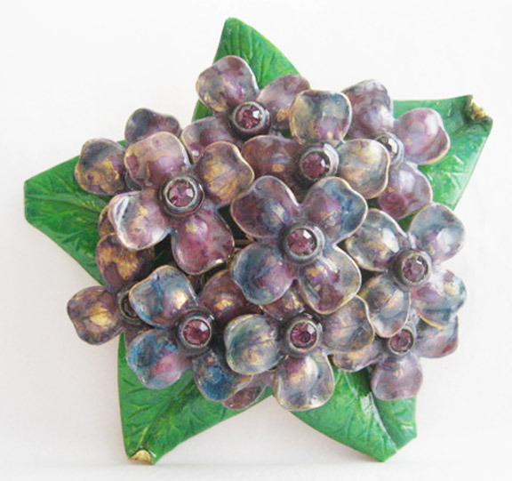 HUGE Old ENAMEL Rhinestone FLOWER BROOCH Pin CALVAIRE