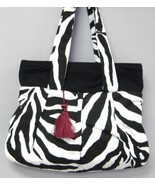 Sydney Black White Zebra Stripe Purse Cotton To... - $91.00
