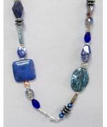 Blue Gemstone Beaded Necklace Chunky Unique Jas... - $110.00