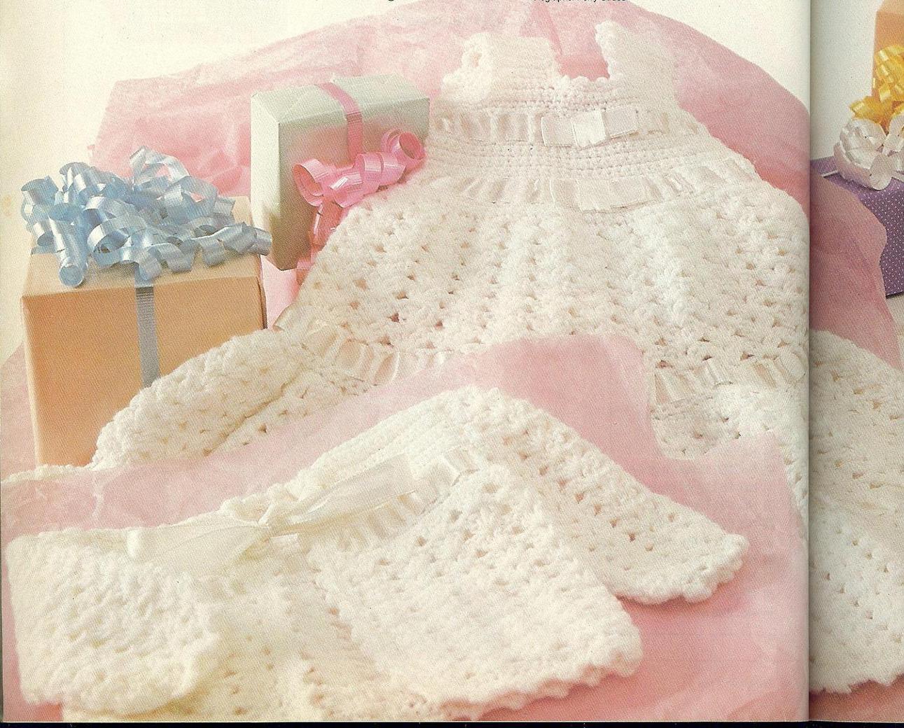 Crochet Pattern For Christening Gown : Christening Gown, Bonnet & Sweater Crochet Pattern - Baby ...