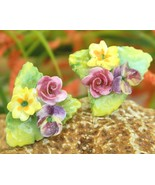 Vintage Ceramic Porcelain Flower Earrings Engla... - $9.95