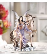 Unicorn Horse with Winged Fairy Maiden Statue - $23.75