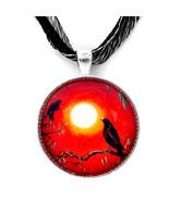 Crows Ravens Orange Black Surreal Moss Goth Tre... - $32.99