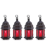 Red Glass Moroccan Lanterns Set of 4 - $35.00